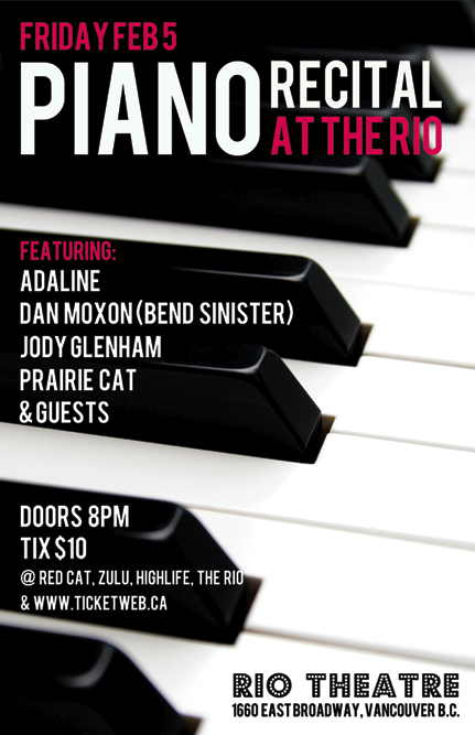 Show Poster for Piano Recital at the Rio Theatre